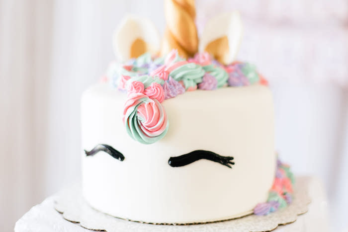 Unicorn Cake from a Flowers & Unicorns Birthday Party on Kara's Party Ideas | KarasPartyIdeas.com (39)