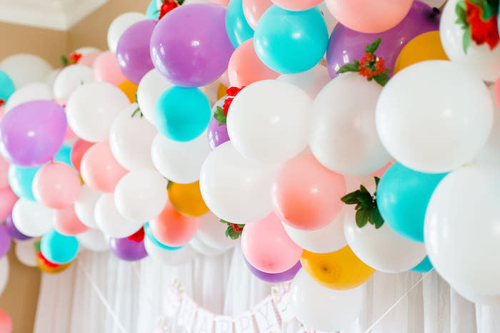 Floral balloon installation + arch from a Flowers & Unicorns Birthday Party on Kara's Party Ideas | KarasPartyIdeas.com (11)