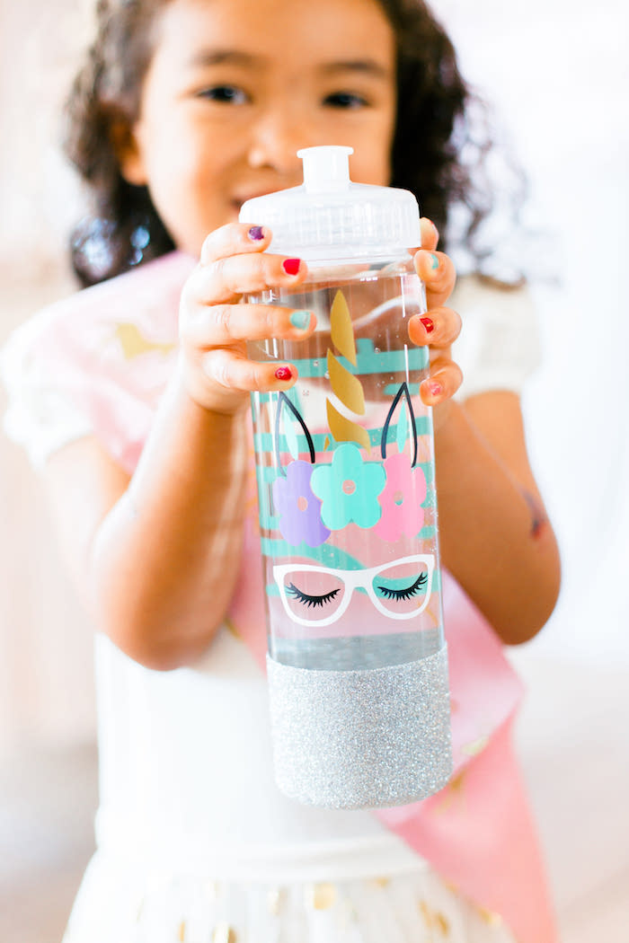 Unicorn Water Bottle from a Flowers & Unicorns Birthday Party on Kara's Party Ideas | KarasPartyIdeas.com (5)