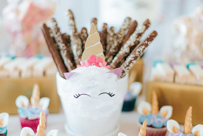 Unicorn Pretzels from a Flowers & Unicorns Birthday Party on Kara's Party Ideas | KarasPartyIdeas.com (38)