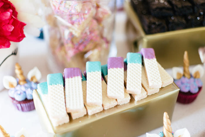 Dipped Wafers from a Flowers & Unicorns Birthday Party on Kara's Party Ideas | KarasPartyIdeas.com (36)