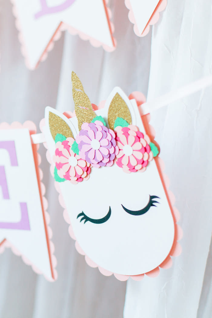 Unicorn Banner from a Flowers & Unicorns Birthday Party on Kara's Party Ideas | KarasPartyIdeas.com (35)