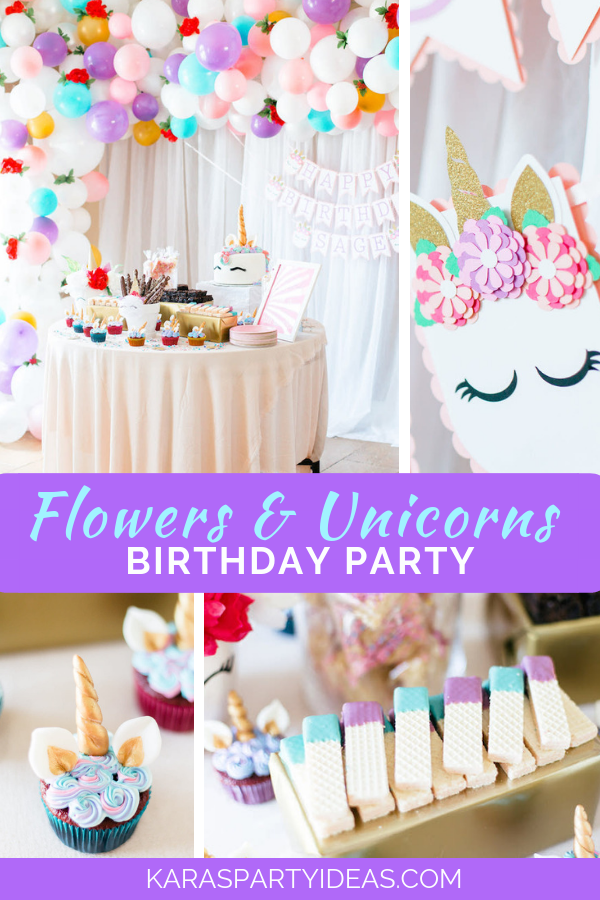 Flowers & Unicorns Birthday Party via Kara's Party Ideas - KarasPartyIdeas.com
