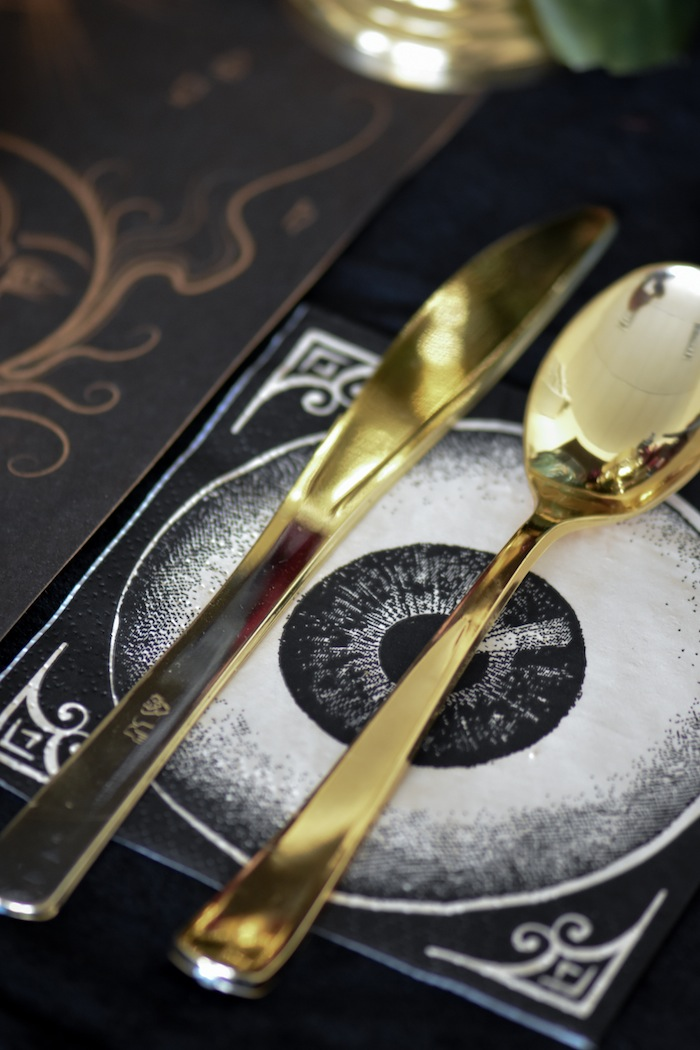Eyeball Napkins and Gold Cutlery at Fortune Teller Moody Halloween Party by Kara's Party Ideas Kara Allen for Canon Printer
