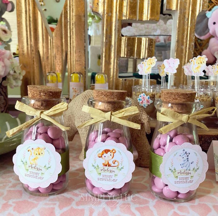Cork Lid Candy Jars from a Girly Jungle Birthday Party on Kara's Party Ideas | KarasPartyIdeas.com (6)