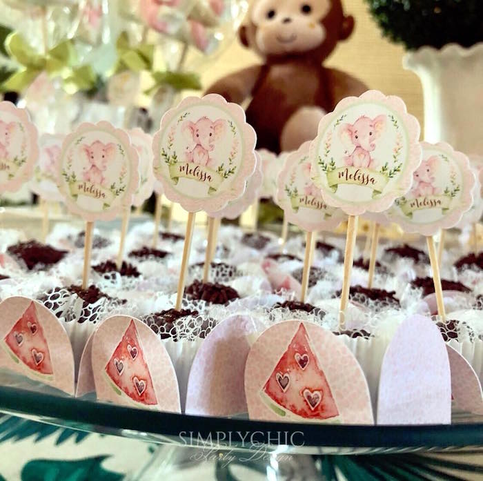 Pink Elephant Truffle Toppers from a Girly Jungle Birthday Party on Kara's Party Ideas | KarasPartyIdeas.com (13)