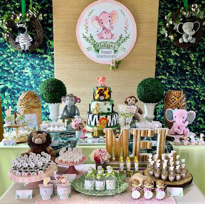 Girly Jungle Birthday Party Table on Kara's Party Ideas | KarasPartyIdeas.com (8)