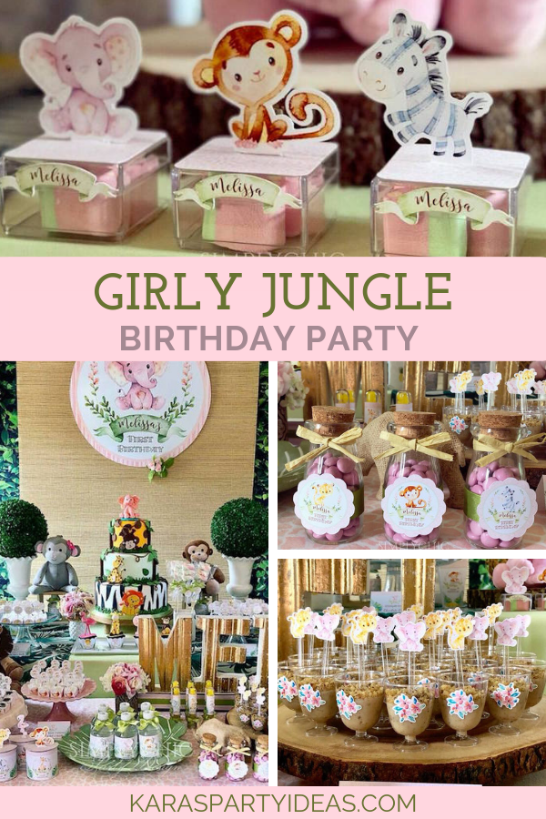 Girly Jungle Birthday Party via Kara's Party Ideas - KarasPartyIdeas.com