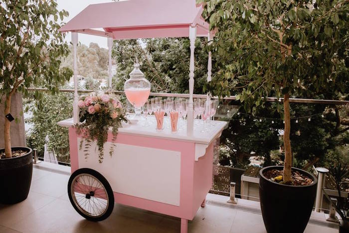 Beverage Cart from a Glam Floral Baby Shower on Kara's Party Ideas | KarasPartyIdeas.com (19)