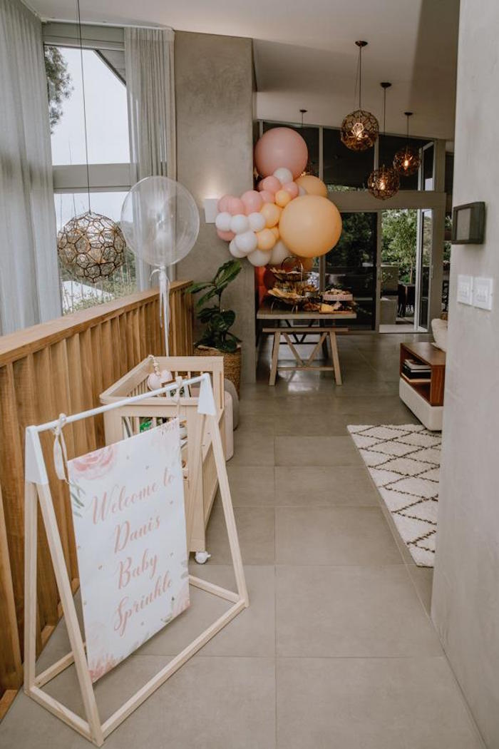 Modern Party Entrance from a Glam Floral Baby Shower on Kara's Party Ideas | KarasPartyIdeas.com (15)