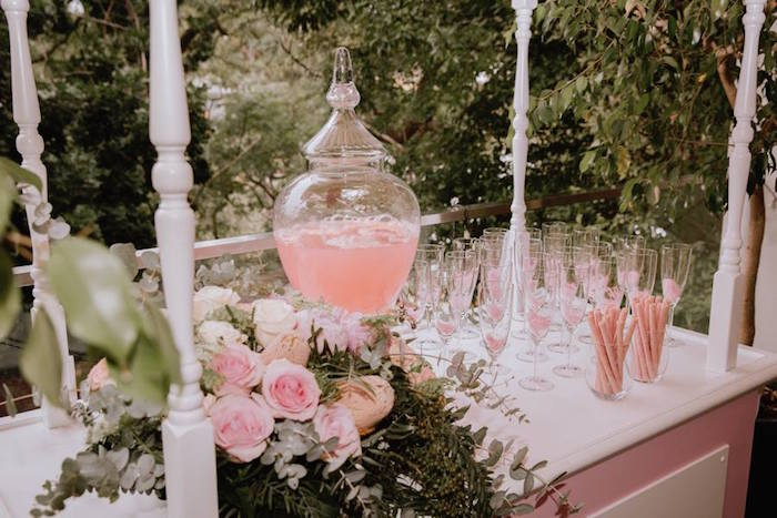 Beverage Bar from a Glam Floral Baby Shower on Kara's Party Ideas | KarasPartyIdeas.com (9)