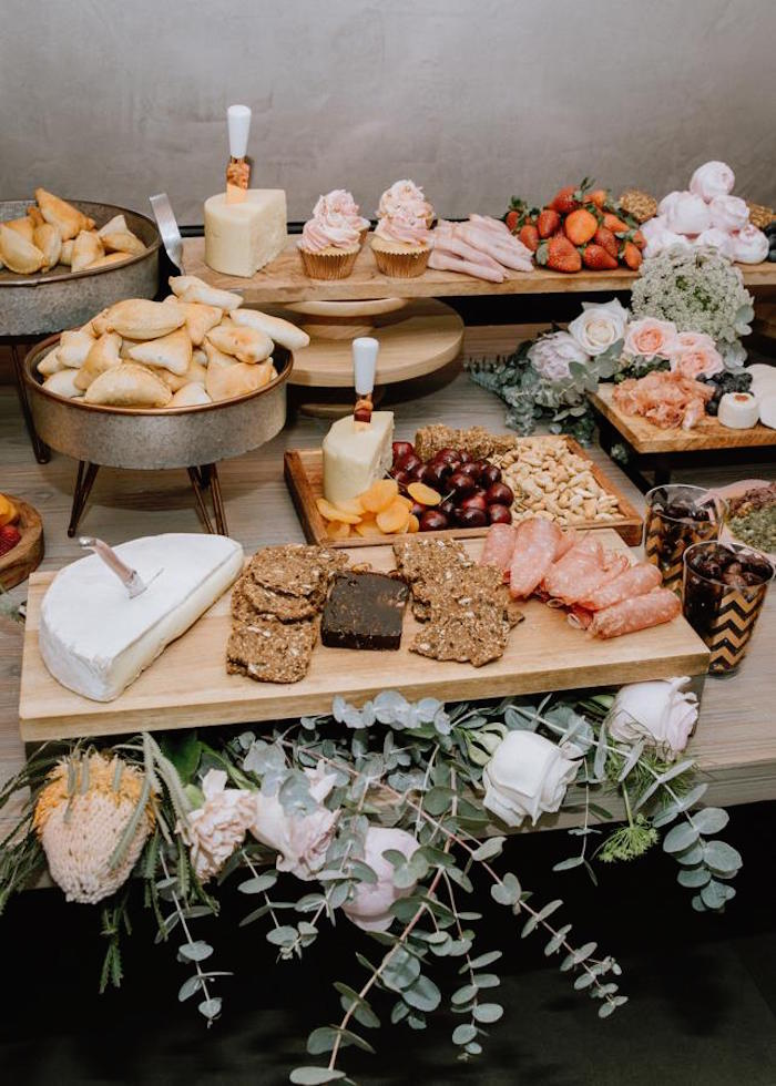 Rustic Food + Sweet Table from a Glam Floral Baby Shower on Kara's Party Ideas | KarasPartyIdeas.com (8)