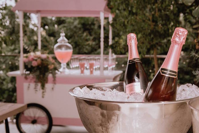 Wine Bottles from a Glam Floral Baby Shower on Kara's Party Ideas | KarasPartyIdeas.com (7)