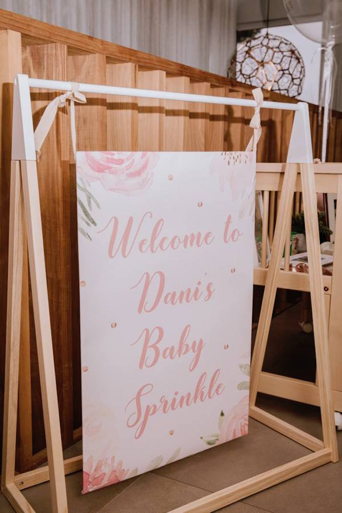 Modern Wood Welcome Sign from a Glam Floral Baby Shower on Kara's Party Ideas | KarasPartyIdeas.com (28)