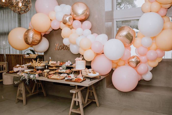 Modern Party Table from a Glam Floral Baby Shower on Kara's Party Ideas | KarasPartyIdeas.com (25)