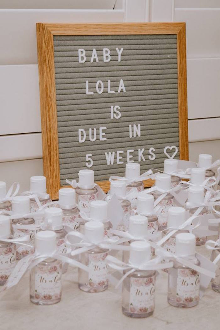 Favor Table from a Glam Floral Baby Shower on Kara's Party Ideas | KarasPartyIdeas.com (24)