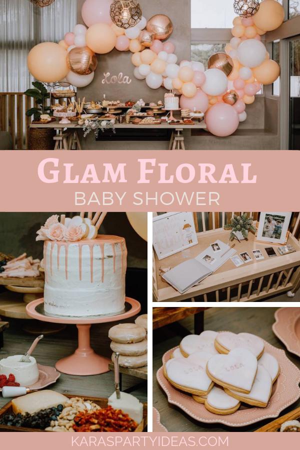 Glam Floral Baby Shower via Kara's Party Ideas - KarasPartyIdeas.com