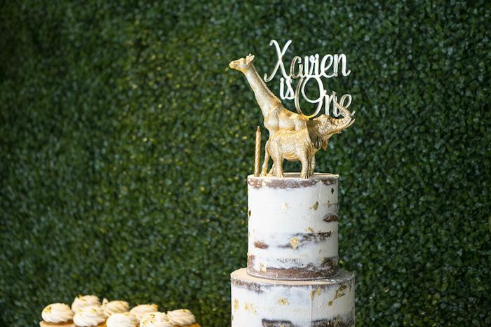 Safari Themed Naked Cake from a Gold Safari 1st Birthday Party on Kara's Party Ideas | KarasPartyIdeas.com (18)