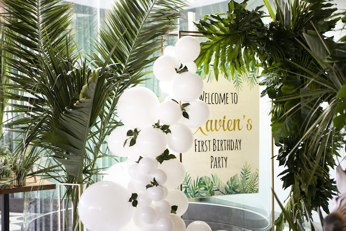 Balloon Garland Welcome Sign from a Gold Safari 1st Birthday Party on Kara's Party Ideas | KarasPartyIdeas.com (15)