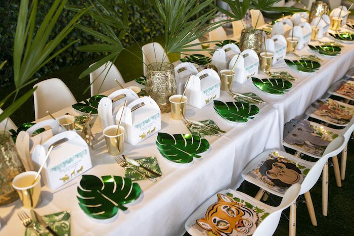 Safari Themed Table Settings from a Gold Safari 1st Birthday Party on Kara's Party Ideas | KarasPartyIdeas.com (10)