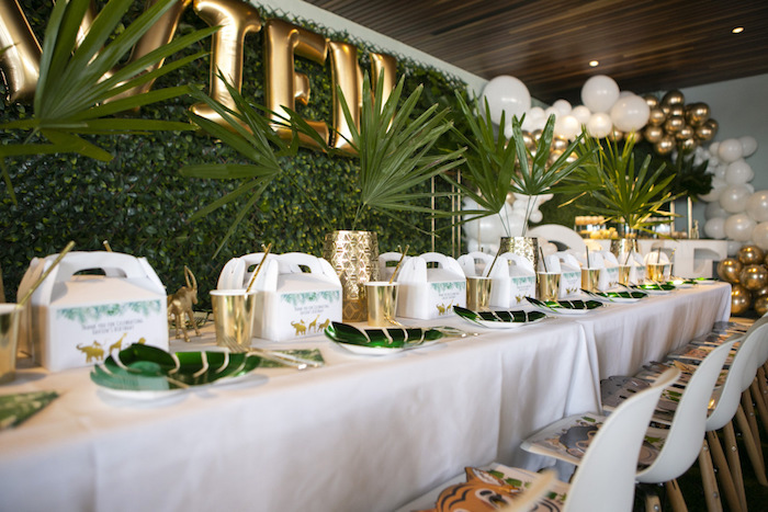 Safari Themed Guest Table from a Gold Safari 1st Birthday Party on Kara's Party Ideas | KarasPartyIdeas.com (9)
