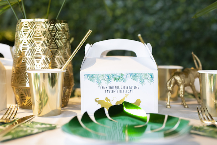 Gable Gift Box - Safari Table Setting from a Gold Safari 1st Birthday Party on Kara's Party Ideas | KarasPartyIdeas.com (27)