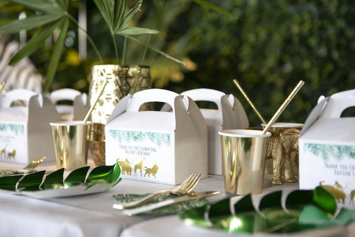 Safari Themed Table Setting from a Gold Safari 1st Birthday Party on Kara's Party Ideas | KarasPartyIdeas.com (8)