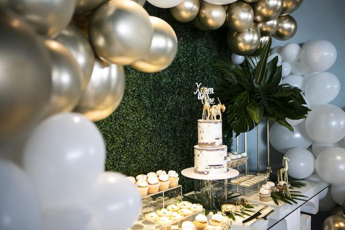 Safari Themed Dessert Table from a Gold Safari 1st Birthday Party on Kara's Party Ideas | KarasPartyIdeas.com (7)