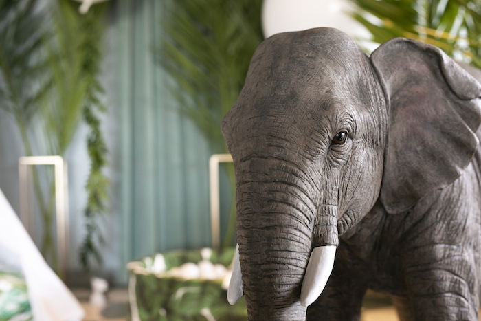 Giant Elephant Decoration from a Gold Safari 1st Birthday Party on Kara's Party Ideas | KarasPartyIdeas.com (23)