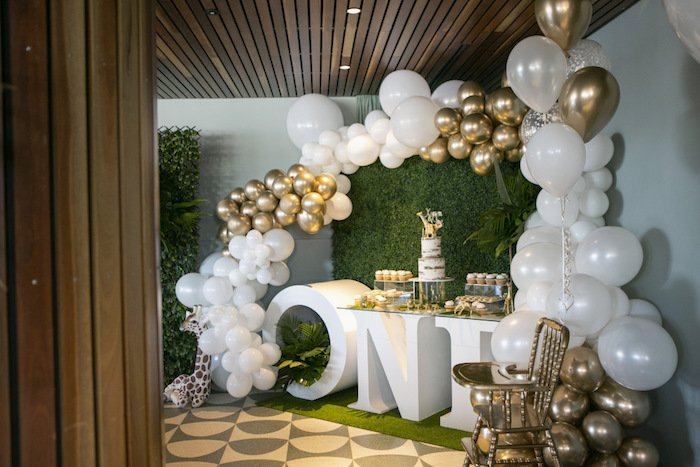 Safari-inspired Sweet Spread from a Gold Safari 1st Birthday Party on Kara's Party Ideas | KarasPartyIdeas.com (19)