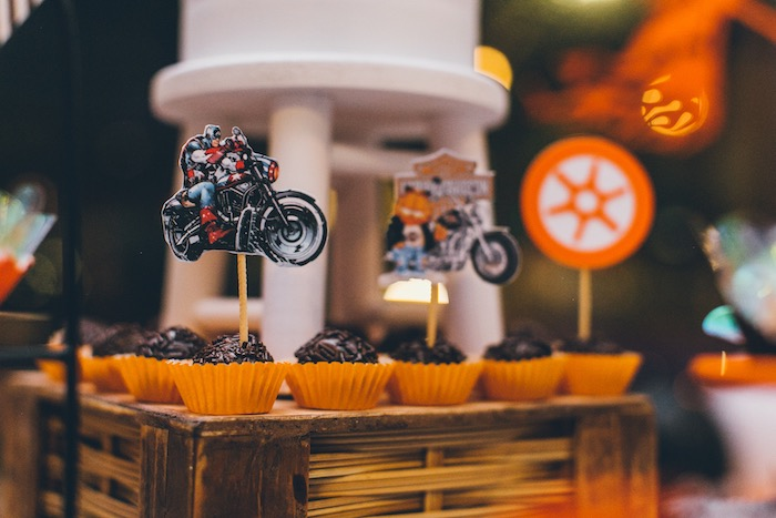 Harley Davidson-inspired Dessert Toppers from a Harley Davidson Birthday Party on Kara's Party Ideas | KarasPartyIdeas.com (17)