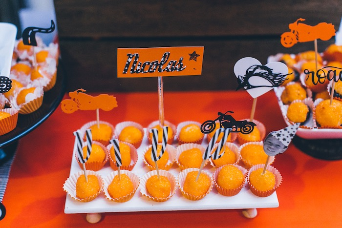 Harley Davidson-inspired Dessert Toppers from a Harley Davidson Birthday Party on Kara's Party Ideas | KarasPartyIdeas.com (16)