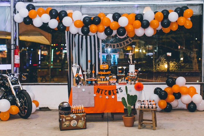 Harley Davidson Themed Dessert Table from a Harley Davidson Birthday Party on Kara's Party Ideas | KarasPartyIdeas.com (14)