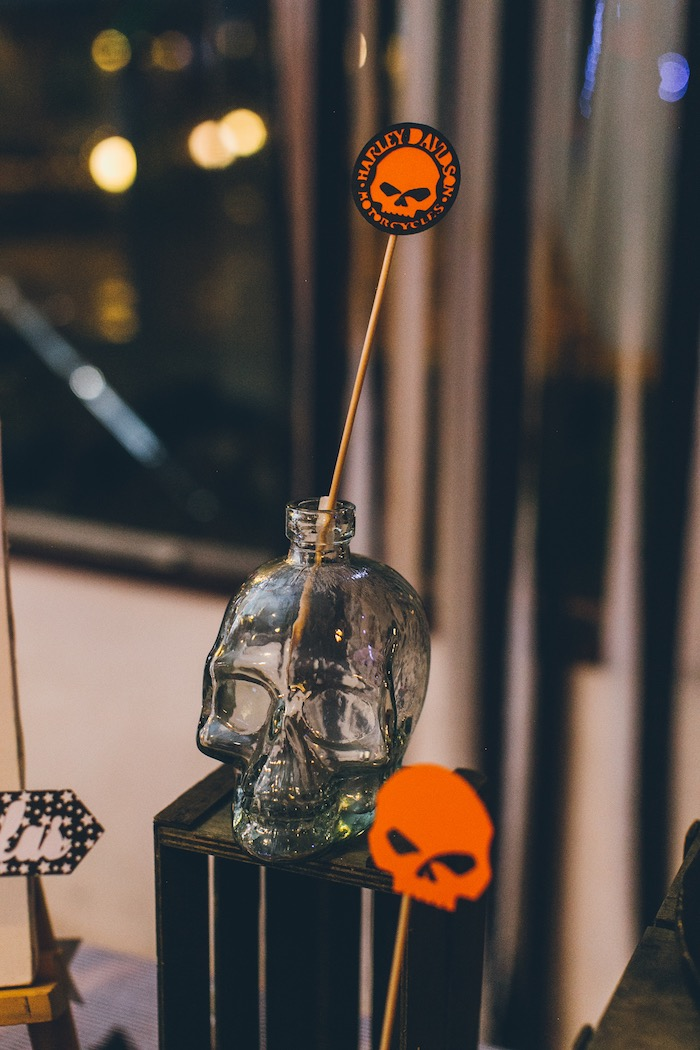 Skull Decorations from a Harley Davidson Birthday Party on Kara's Party Ideas | KarasPartyIdeas.com (12)