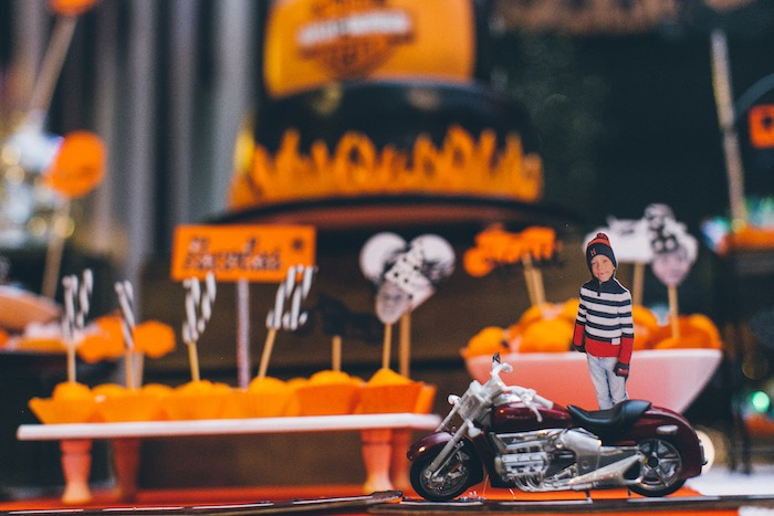 Customized Motorcycle Decoration from a Harley Davidson Birthday Party on Kara's Party Ideas | KarasPartyIdeas.com (11)