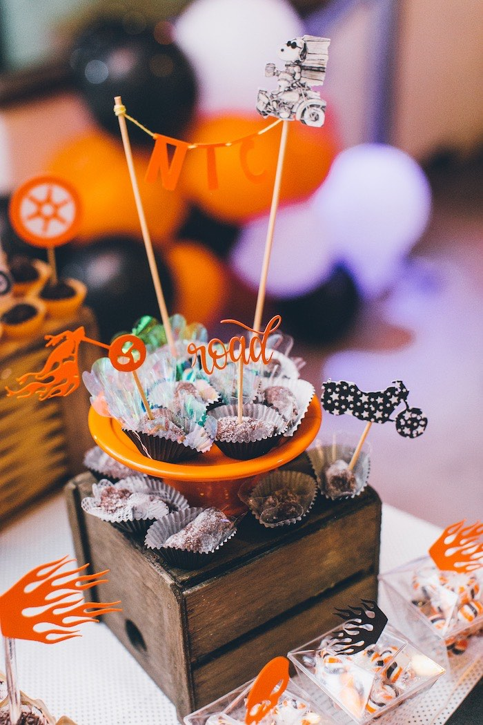 Harley Davidson-inspired Dessert Plate + Pedestal from a Harley Davidson Birthday Party on Kara's Party Ideas | KarasPartyIdeas.com (8)