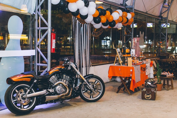 Harley Davidson on display from a Harley Davidson Birthday Party on Kara's Party Ideas | KarasPartyIdeas.com (6)
