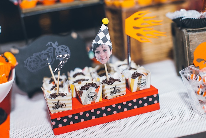 Customized Photo Dessert Topper from a Harley Davidson Birthday Party on Kara's Party Ideas | KarasPartyIdeas.com (21)
