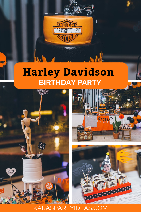 Harley Davidson Birthday Party via Kara's Party Ideas - KarasPartyIdeas.com