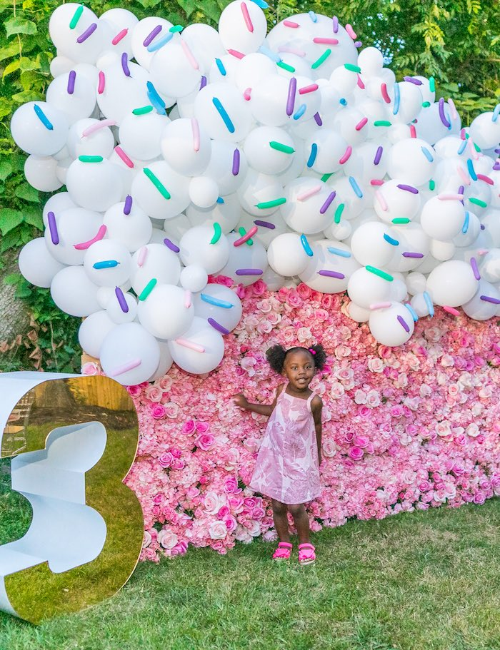 Floral Balloon Ice Cream Wall from an Ice Cream & Sprinkles Birthday Party on Kara's Party Ideas | KarasPartyIdeas.com (10)