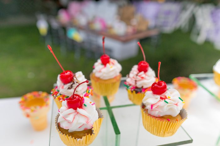 Ice Cream Sundae Cupcakes from an Ice Cream & Sprinkles Birthday Party on Kara's Party Ideas | KarasPartyIdeas.com (8)