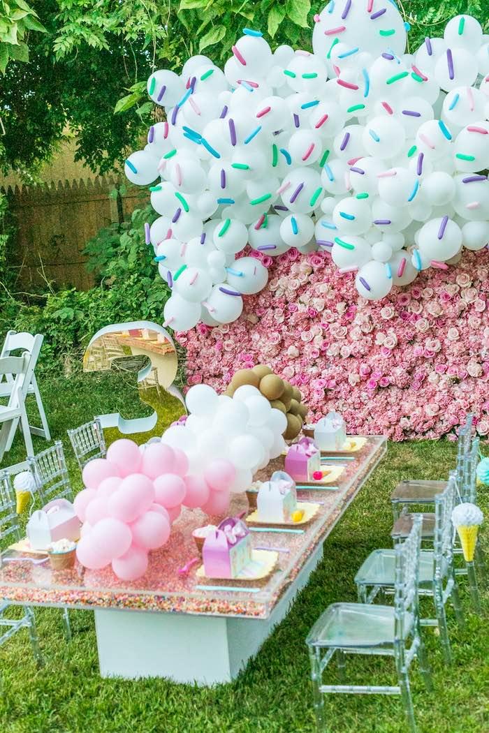 Neapolitan Ice Cream Party Table from an Ice Cream & Sprinkles Birthday Party on Kara's Party Ideas | KarasPartyIdeas.com (6)
