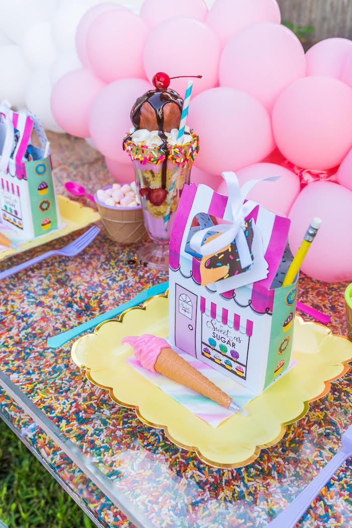Ice Cream Themed Table Setting from an Ice Cream & Sprinkles Birthday Party on Kara's Party Ideas   KarasPartyIdeas.com (5)