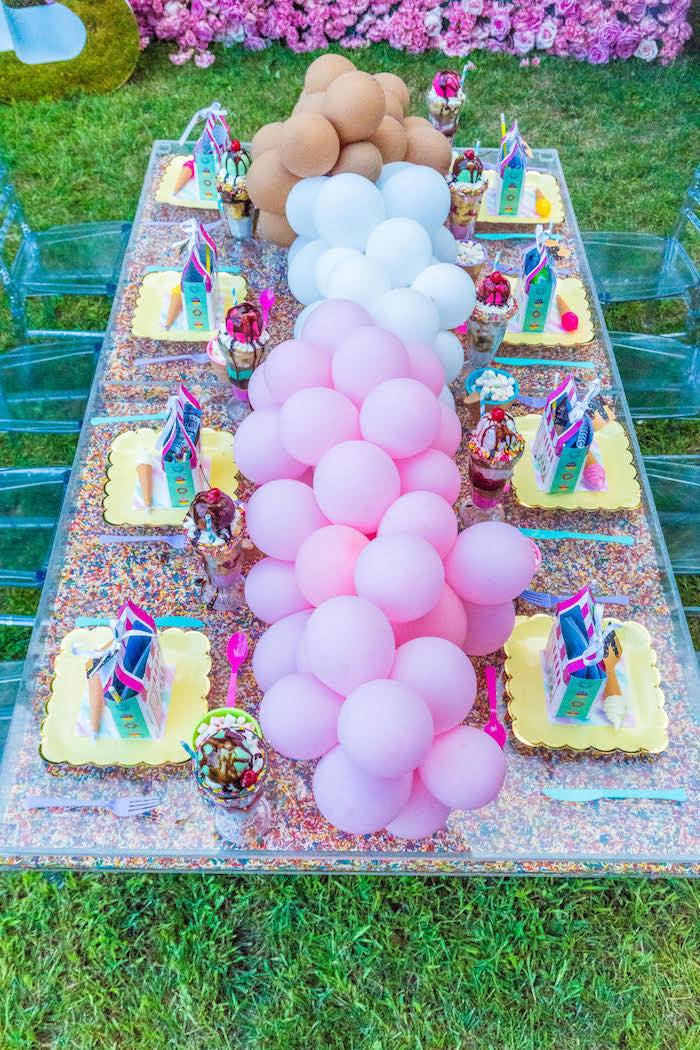 Neapolitan Ice Cream Guest Table from an Ice Cream & Sprinkles Birthday Party on Kara's Party Ideas | KarasPartyIdeas.com (4)