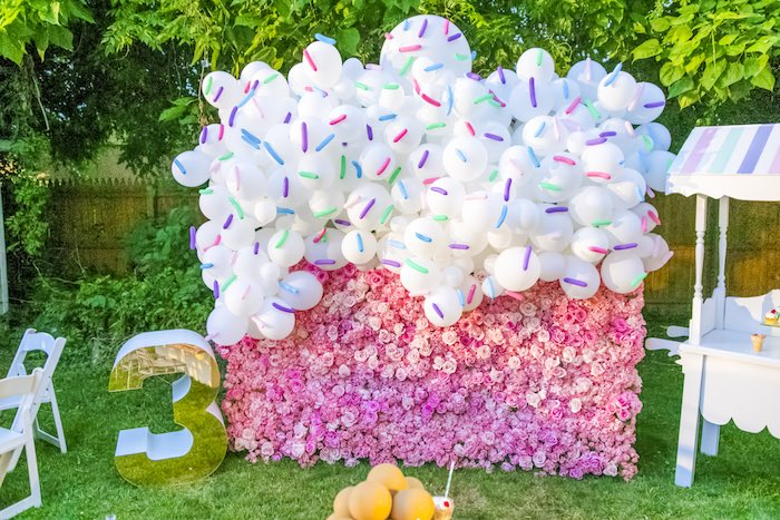 Balloon & Floral Ice Cream Wall from an Ice Cream & Sprinkles Birthday Party on Kara's Party Ideas | KarasPartyIdeas.com (19)