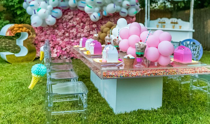 Acrylic - Sprinkle Filled Ice Cream Party Table from an Ice Cream & Sprinkles Birthday Party on Kara's Party Ideas | KarasPartyIdeas.com (18)