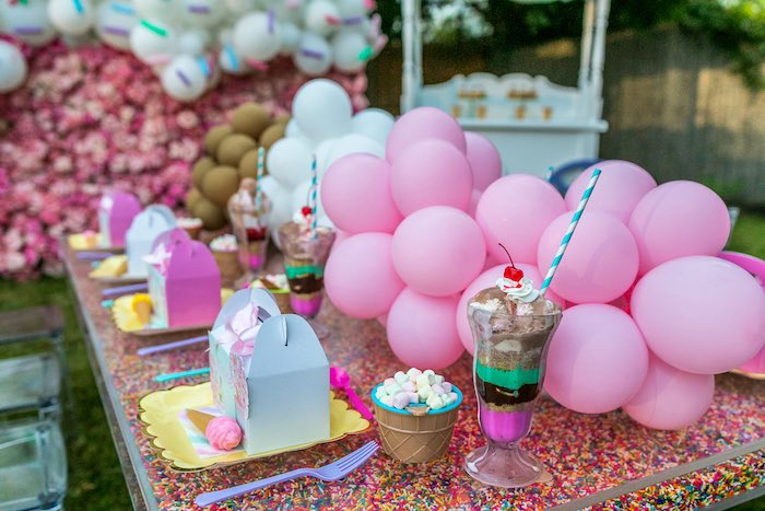 Ice Cream Themed Table Setting from an Ice Cream & Sprinkles Birthday Party on Kara's Party Ideas | KarasPartyIdeas.com (14)