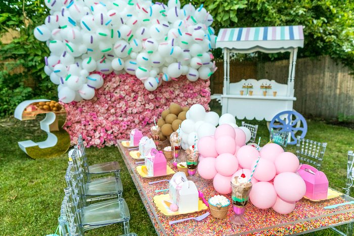Neapolitan Ice Cream Guest Table from an Ice Cream & Sprinkles Birthday Party on Kara's Party Ideas | KarasPartyIdeas.com (11)