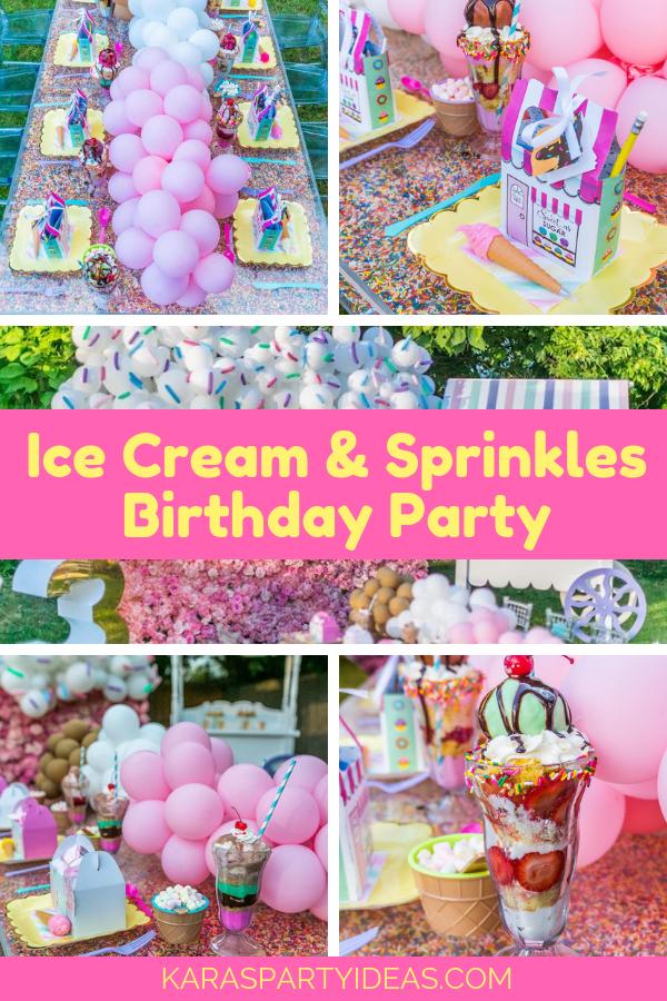 Ice Cream & Sprinkles Birthday Partyvia Kara's Party Ideas - KarasPartyIdeas.com