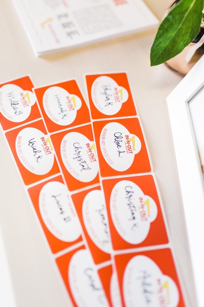 Name Tag Stickers from an In N Out Inspired 1st Birthday Party on Kara's Party Ideas | KarasPartyIdeas.com (24)
